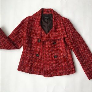 EUC Talbots tweed pea coat jacket 4P